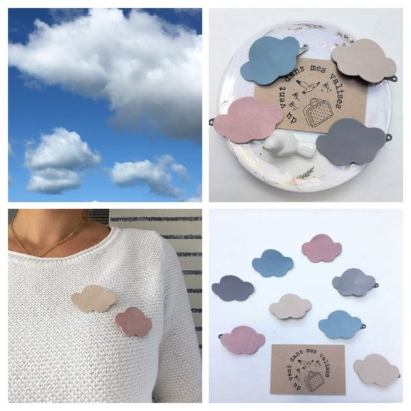broche en cuir motif nuage