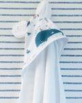 du vent dans mes valises - cape de bain bébé baleines oreilles ourson made in France