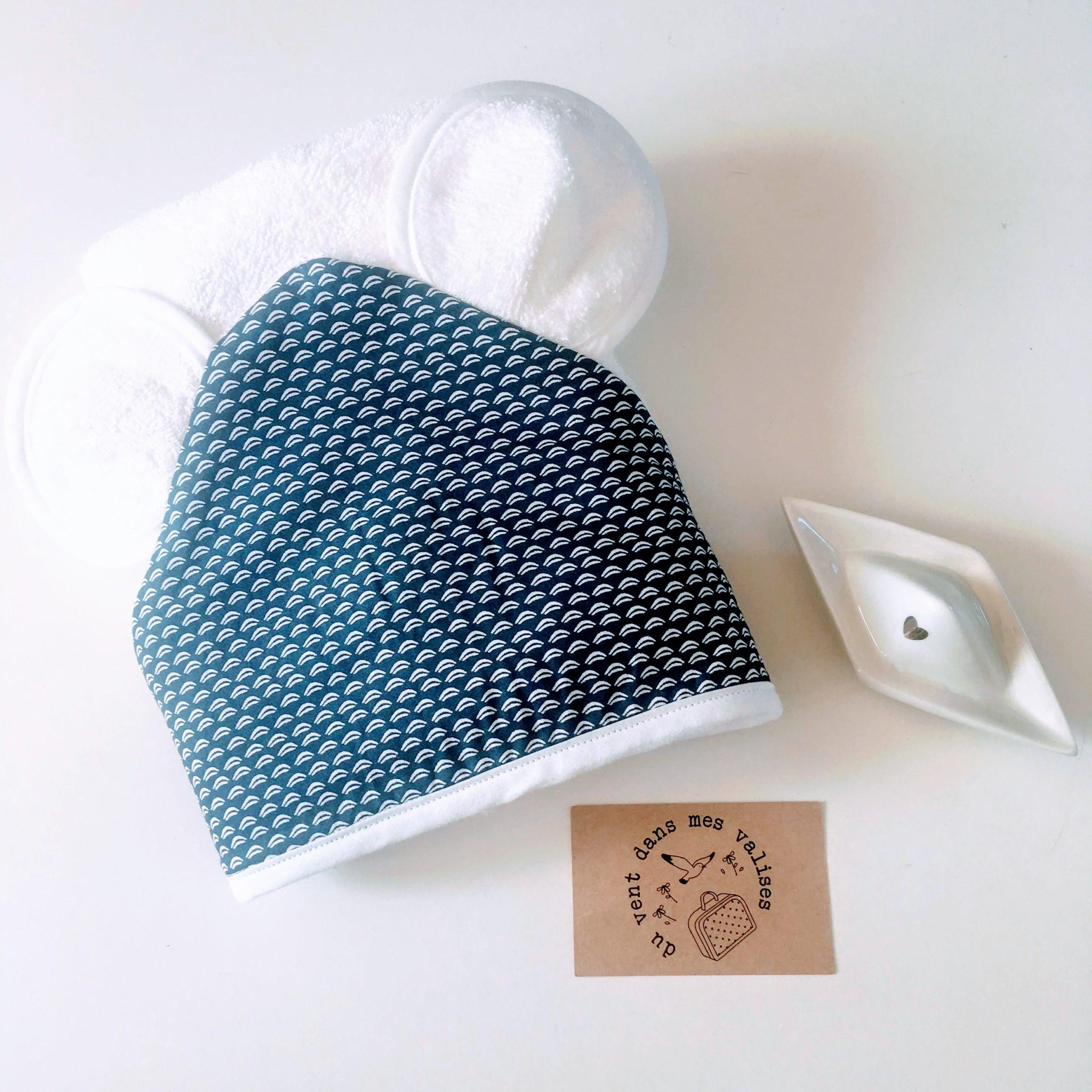 du vent dans mes valises - cape de bain bébé oreilles ourson doublure vagues marine made in France