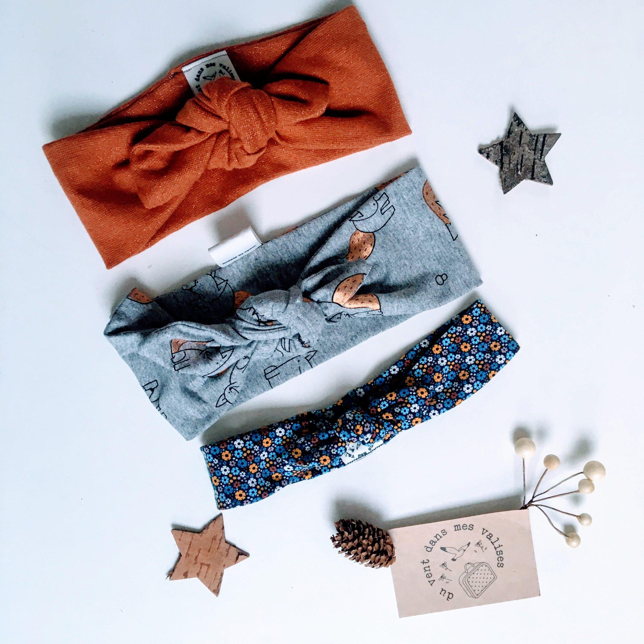 Bandeaux extensibles et adaptables, côté terre automne-hiver - accessoire de coiffure fait-main en jersey de coton motifs champignons, écureuils, feuilles