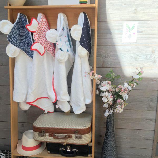 du vent dans mes valises - cape de bain bébé oreilles personnalisée made in France