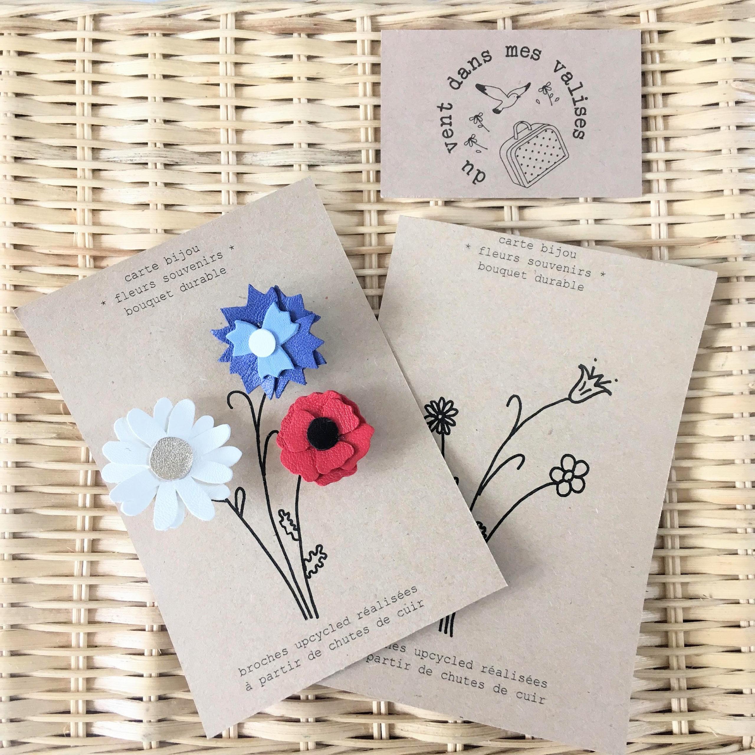 du vent dans mes valises - carte bijou postale fleurs du souvenir made in France