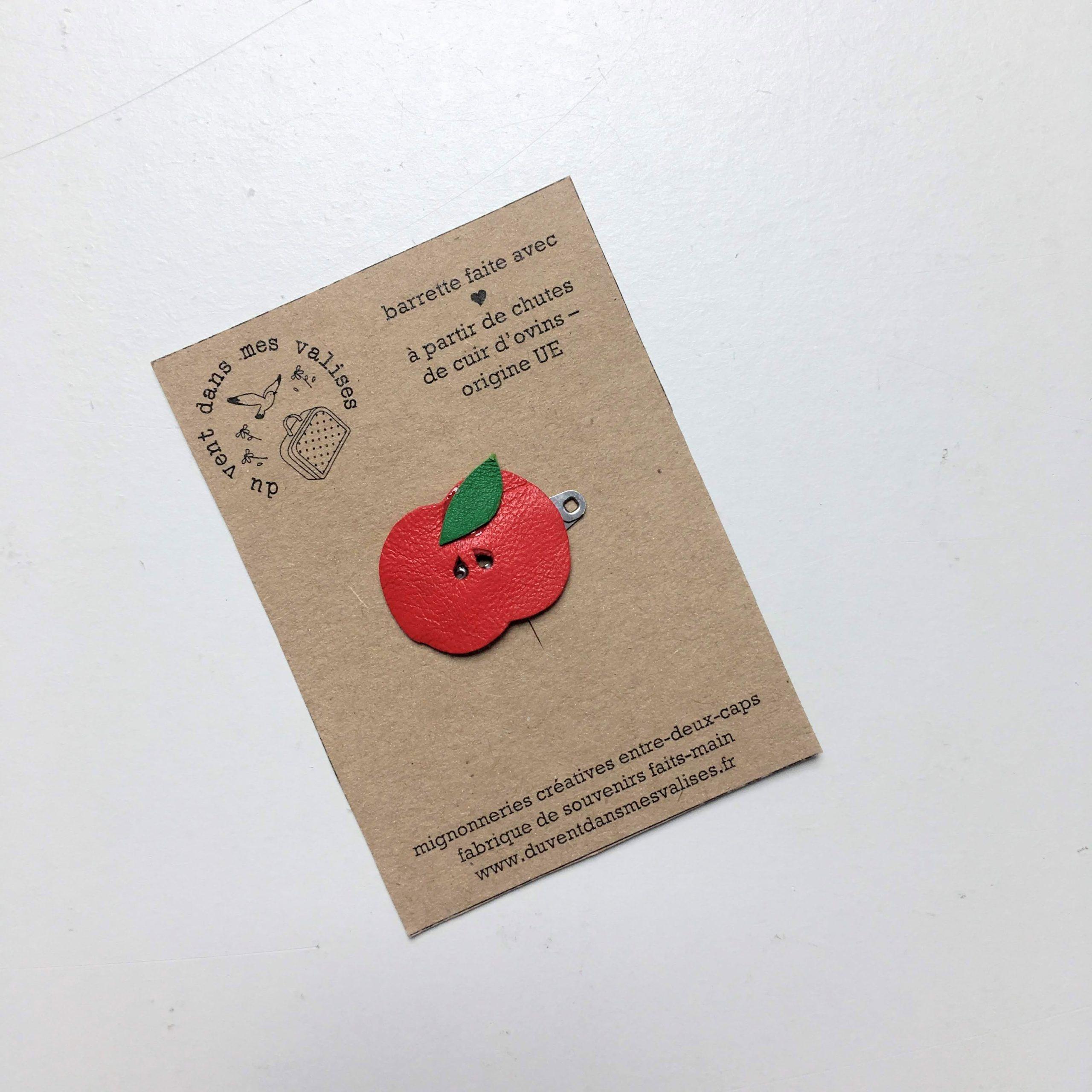 du vent dans mes valises - barrette pomme cuir made in France
