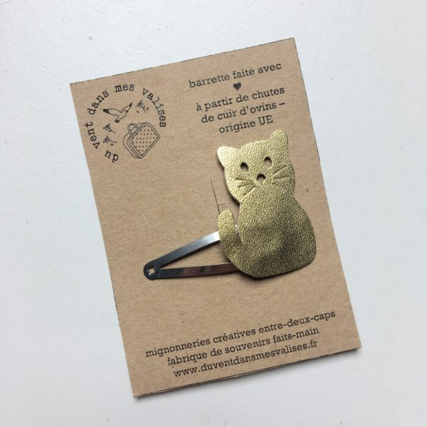 du vent dans mes valises - barrette mimi chat cuir made in France