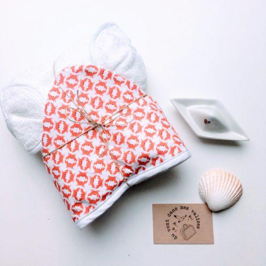 du vent dans mes valises - cape de bain bébé oreilles pinces de crabes made in France