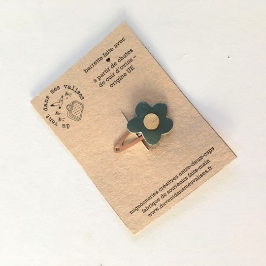 du vent dans mes valises - barrette en cuir fleurs des champs made in France