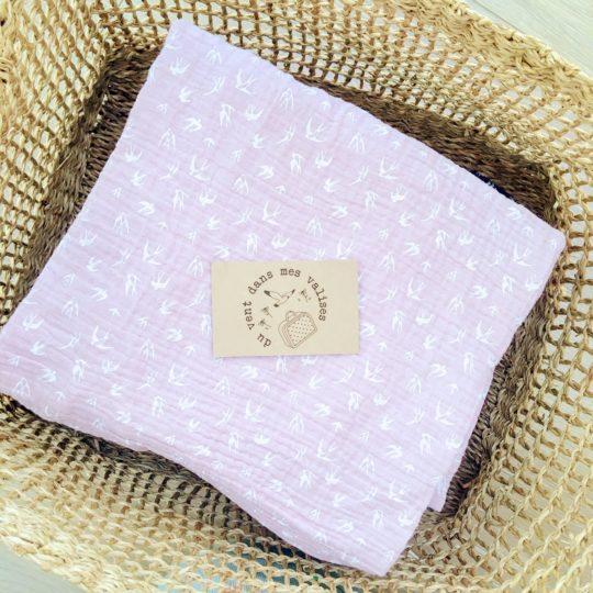 du vent dans mes valises - snood si doux hirondelles rose made in France