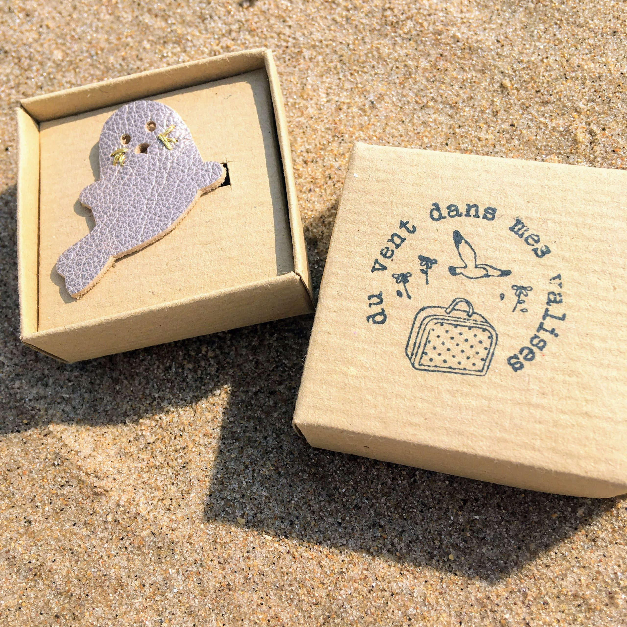 broches cuir bord de mer made in France - du vent dans mes valises