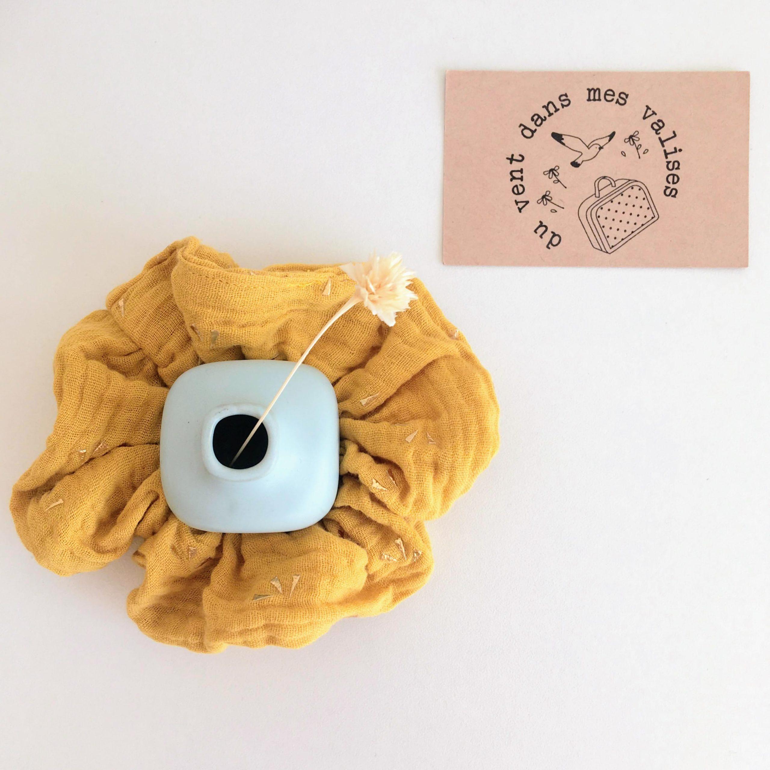 chouchou jaune made in France en double gaze de coton - du vent dans mes valises