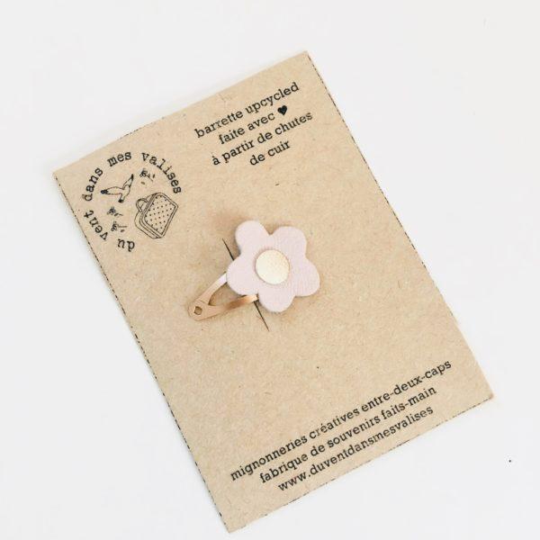 du vent dans mes valises - barrette en cuir fleur de cerisier made in France