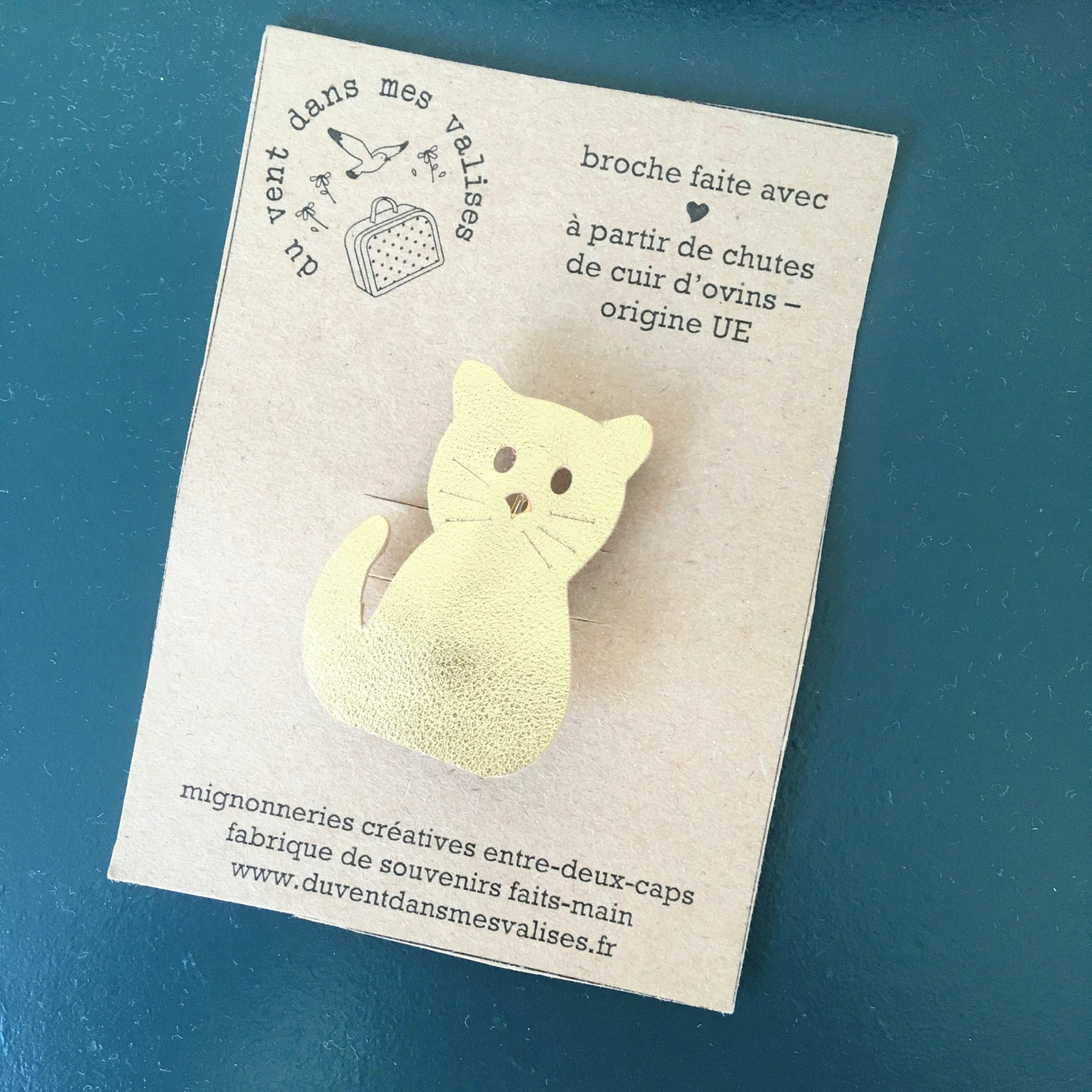 du vent dans mes valises - broche chat cuir made in France
