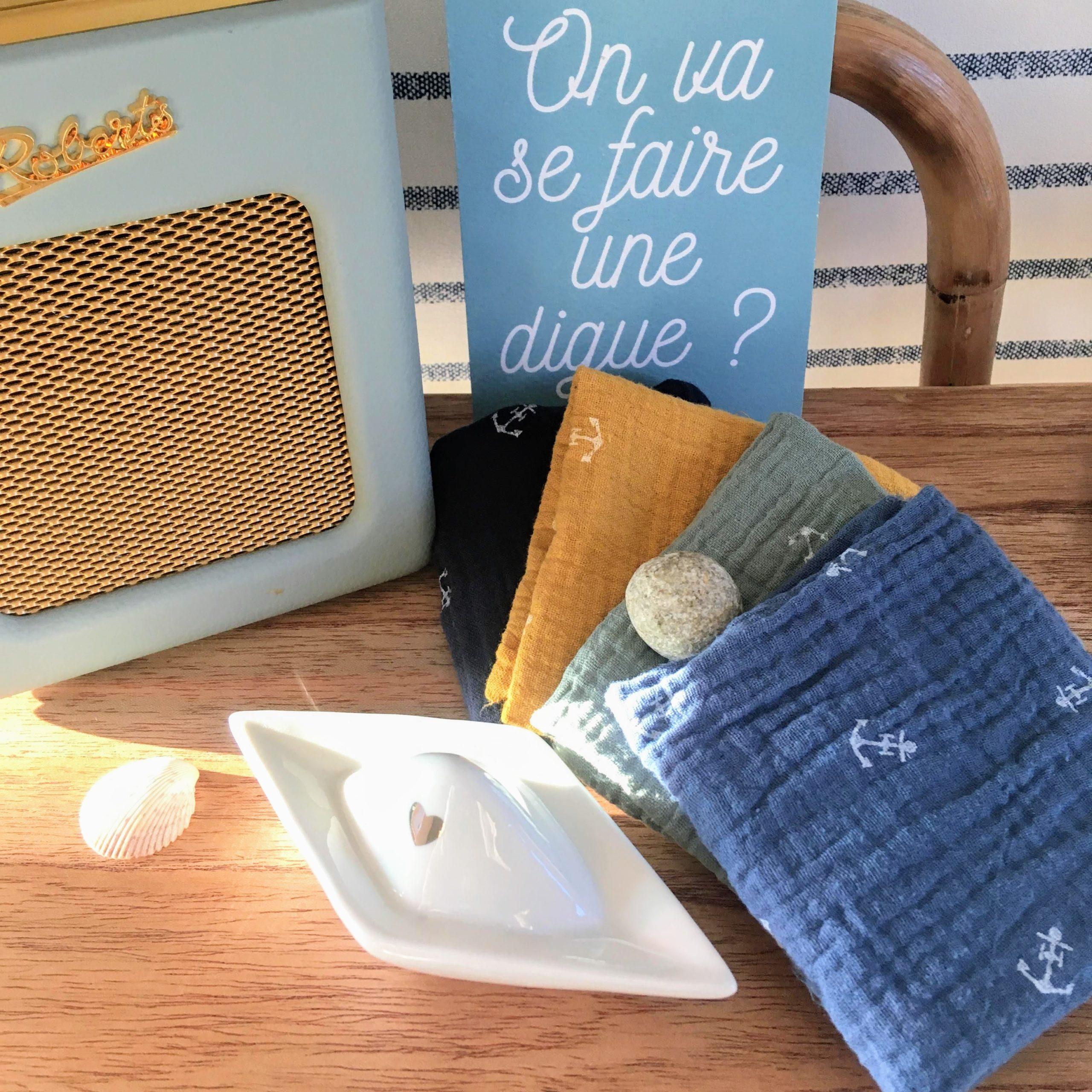 du vent dans mes valises - mouchoirs ancres double gaze made in France