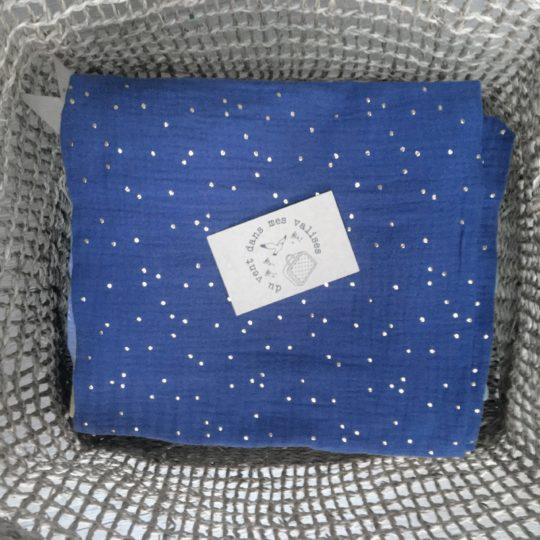 du vent dans mes valises - snood si doux bleu indigo made in France