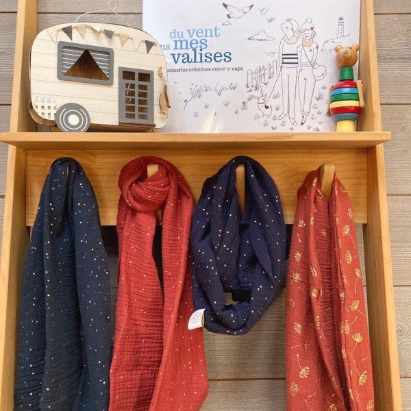snood double gaze bleu marine et brique motifs dorés made in France écharpe coton artisanale - du vent dans mes valises