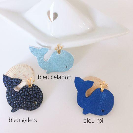 trio de broches baleines bleu roi céladon galets made in france - du vent dans mes valises