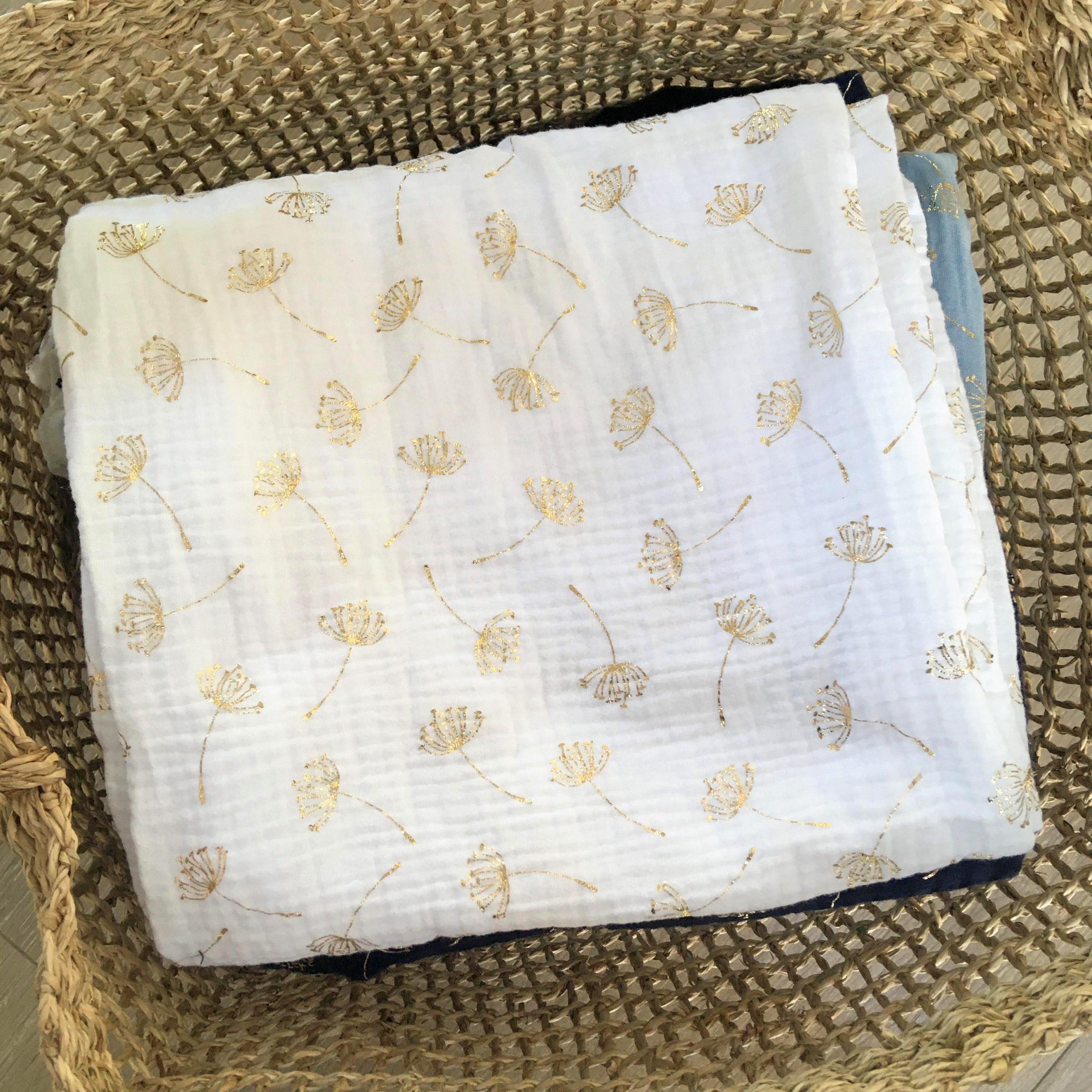 du vent dans mes valises - snood si doux double gaze pissenlits dores made in France