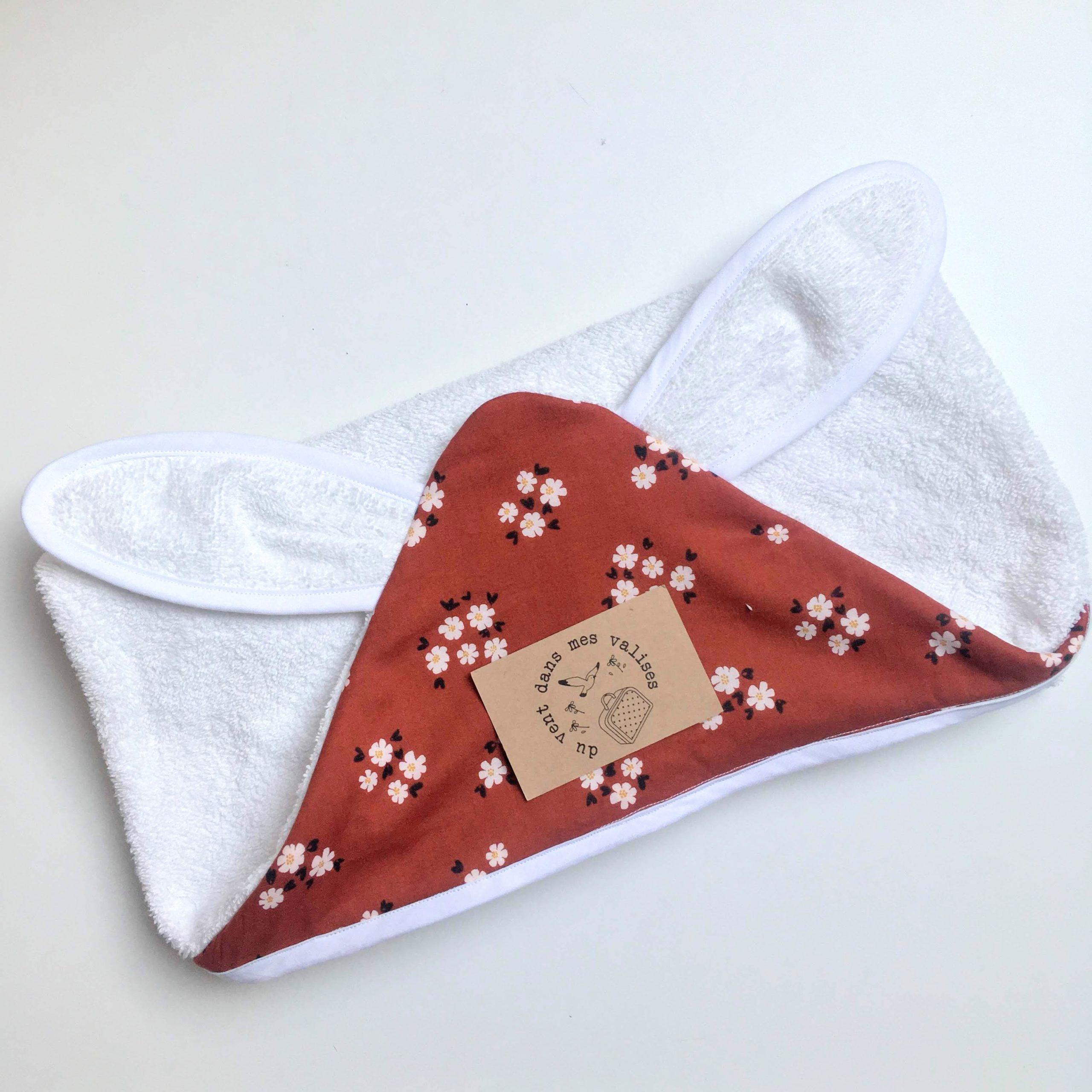 du vent dans mes valises - cape de bain bébé fleurs boho made in France