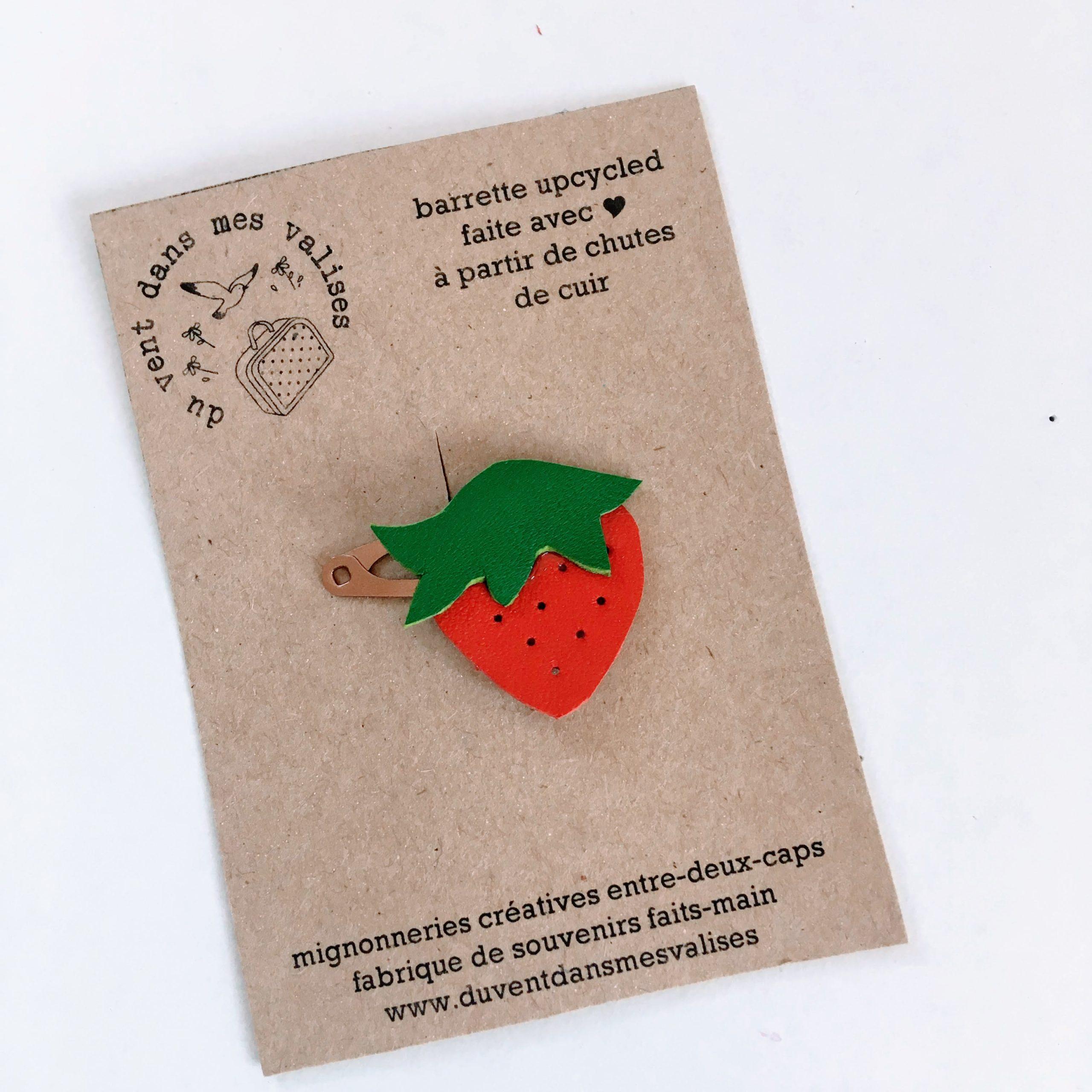 du vent dans mes valises - barrette fraise made in France