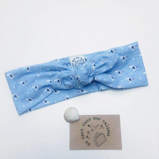 du vent dans mes valises - bandeau extensible bébé enfant adulte jersey coton bleu mouettes made in France
