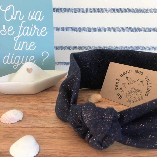 du vent dans mes valises - bandeau extensible enfant adulte jersey coton marine éclats cuivre made in France