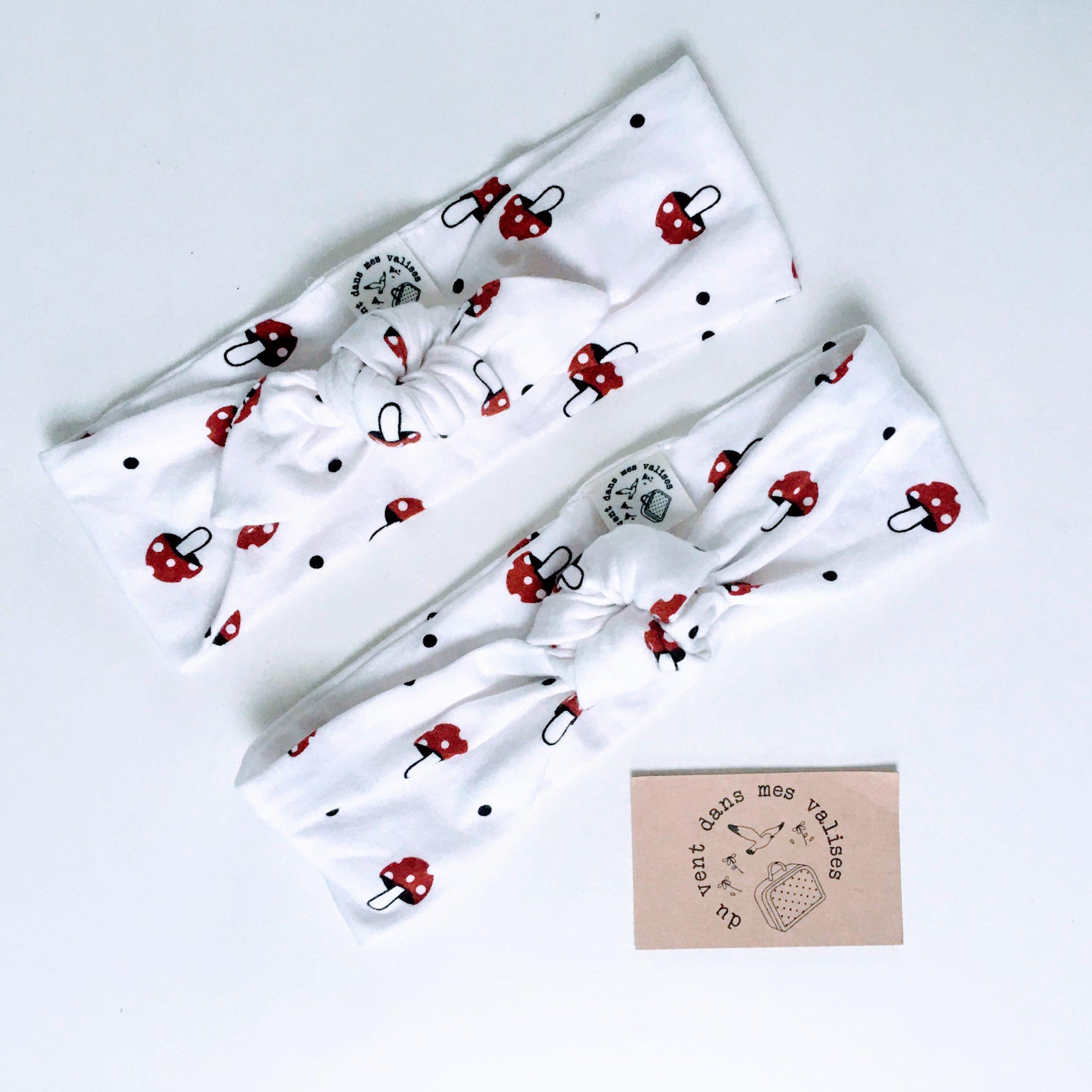 du vent dans mes valises - bandeau extensible enfant adulte jersey coton blanc champignons made in France