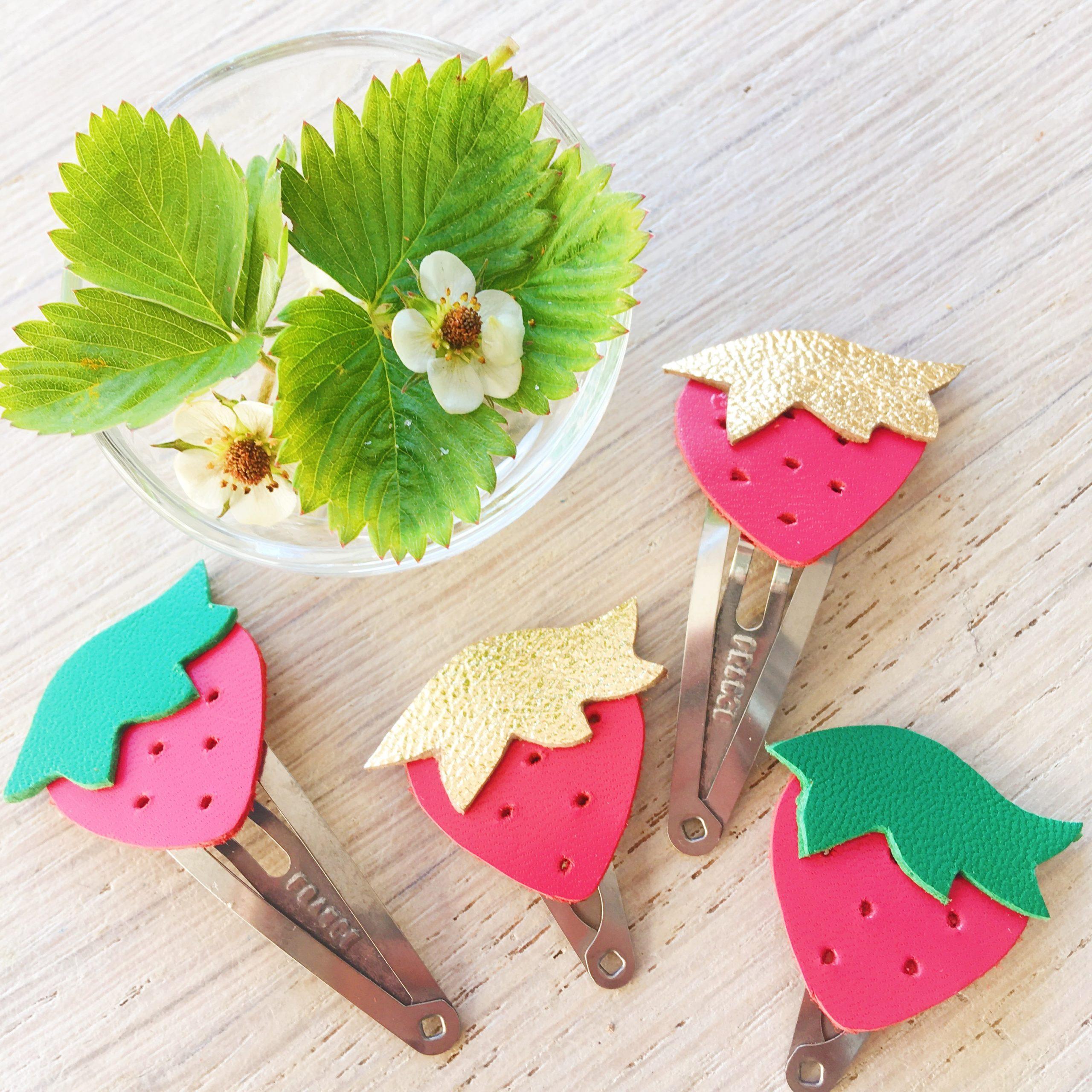 barrettes fraises à croquer made in france - du vent dans mes valises