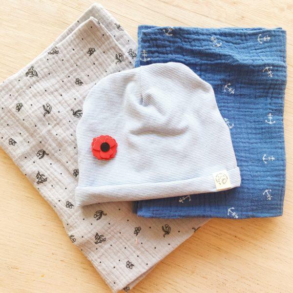 bonnet naissance mixte ou garçon, modèle personnalisén, made in France - du vent dans mes valises