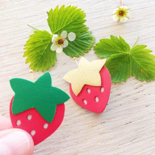 broches fraises des bois made in france - du vent dans mes valises