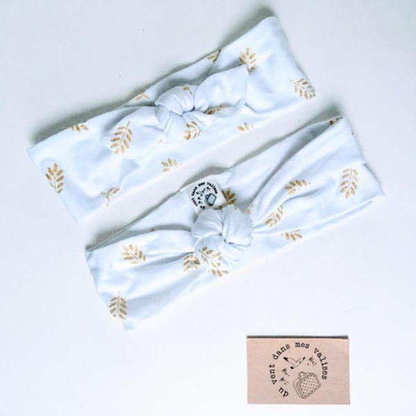 du vent dans mes valises - bandeau extensible enfant adulte jersey coton blanc feuilles dorées made in France