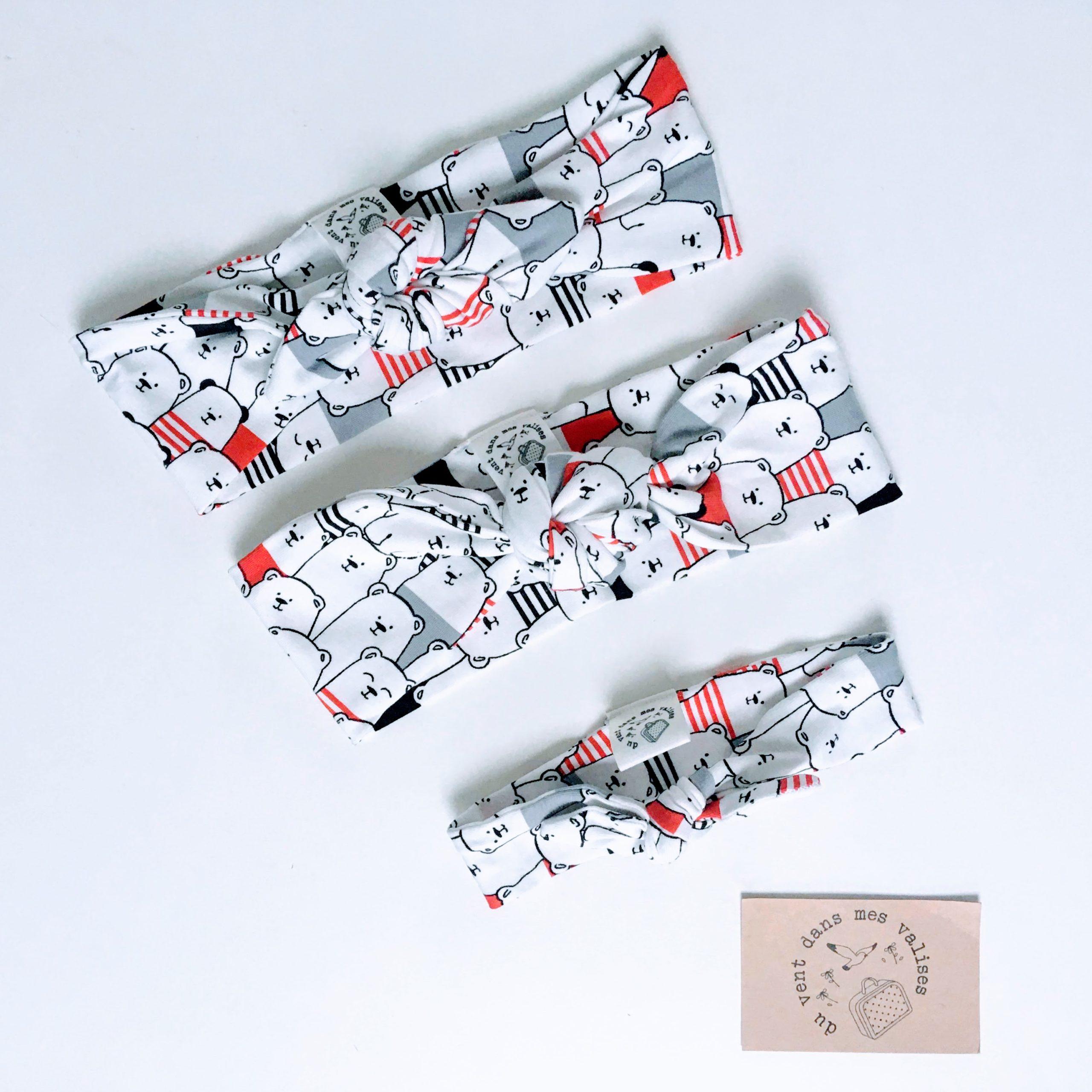 du vent dans mes valises - bandeau extensible enfant adulte jersey coton blanc ours marins made in France