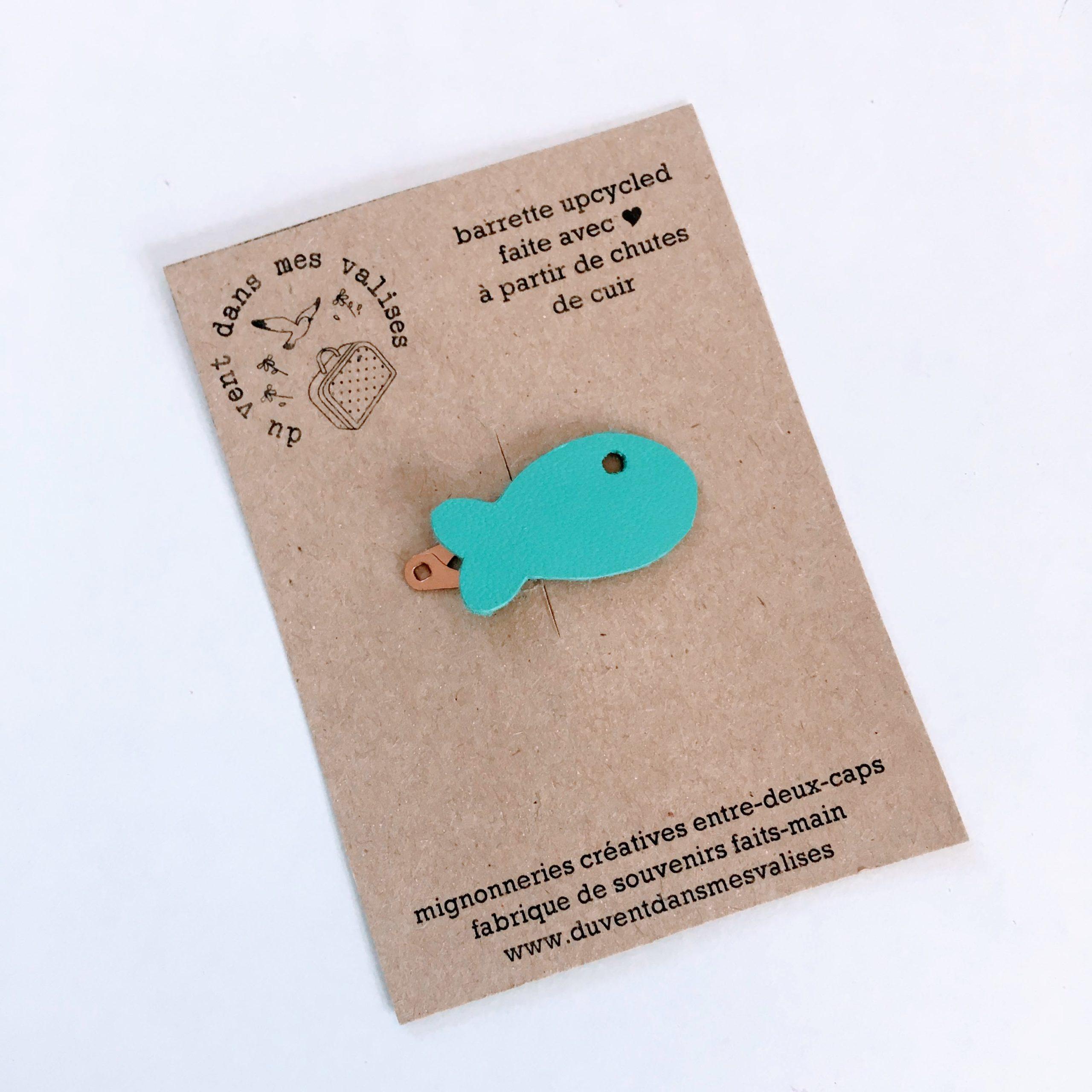 du vent dans mes valises - barrette poisson bleu cuir made in France