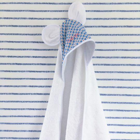 du vent dans mes valises - cape de bain à oreilles bébé motifs marguerites made in France