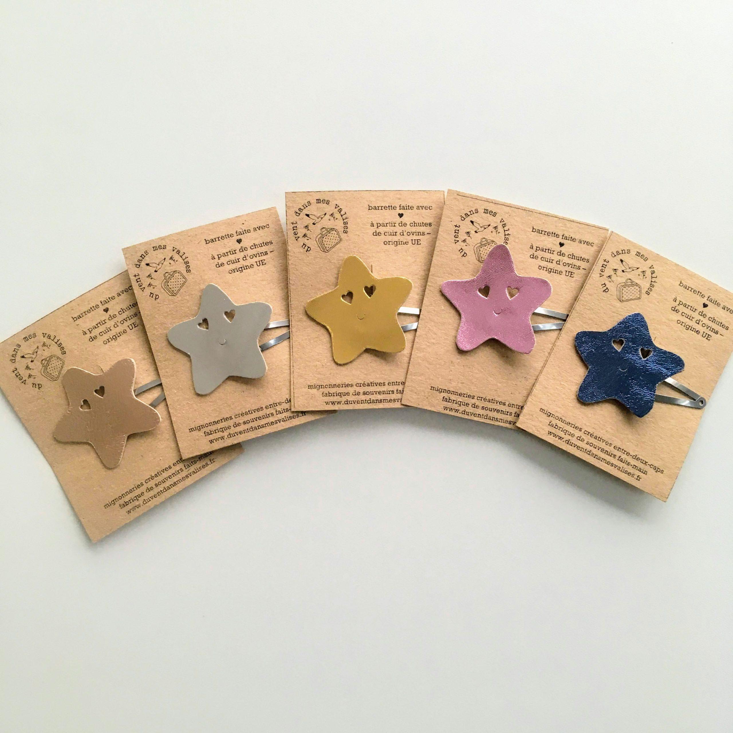 barrettes étoile rose cuir made in France - du vent dans mes valises