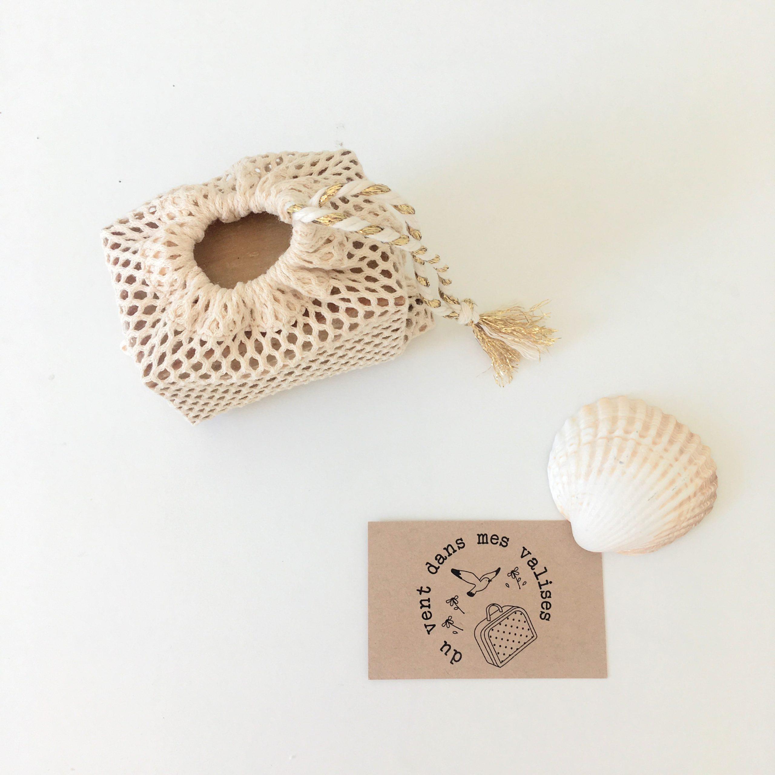 du vent dans mes valises - filet sauve savon naturel coton bio cordon recyclable made in France