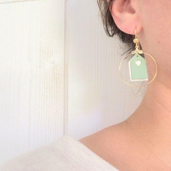 du vent dans mes valises - les cabines de plage boucles d'oreille pendantes créoles métal et cuir made in France