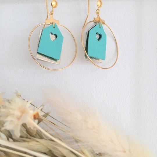 boucles d'oreilles personnalisées cabines de plage - du vent dans mes valises turquoise