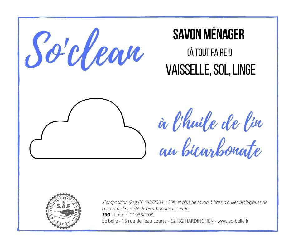 Mini savon nuage ménager au bicarbonate So'clean - so belle x du vent dans mes valises
