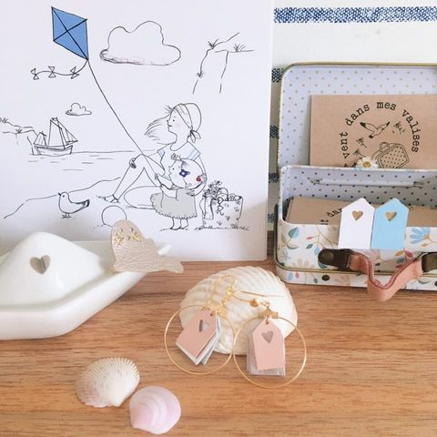boucles d'oreilles poétiques les jolies cabines de plage modèles personnalisés - du vent dans mes valises