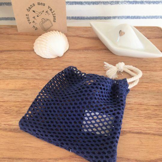 du vent dans mes valises - filet sauve savon naturel homme coton bio cordon recyclable made in France
