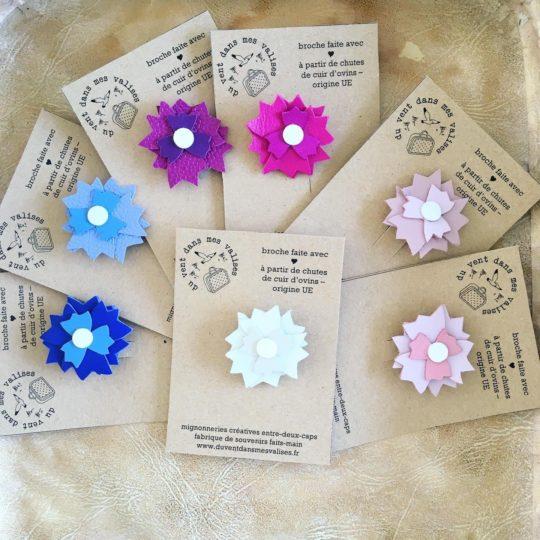 du vent dans mes valises - broches en cuir bleuet fleurs sauvages centaurées made in France