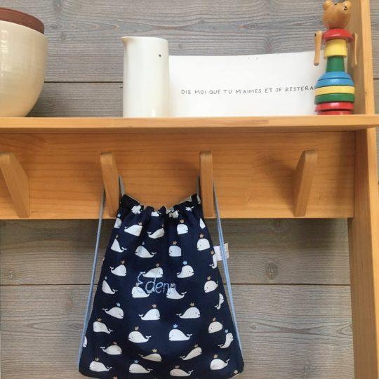du vent dans mes valises - petit sac à dos rentrée maternelle crèche coton personnalisé prénom made in France