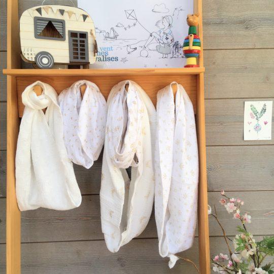 du vent dans mes valises - snood si doux écharpe tour de cou double gaze voile de coton blanc made in France