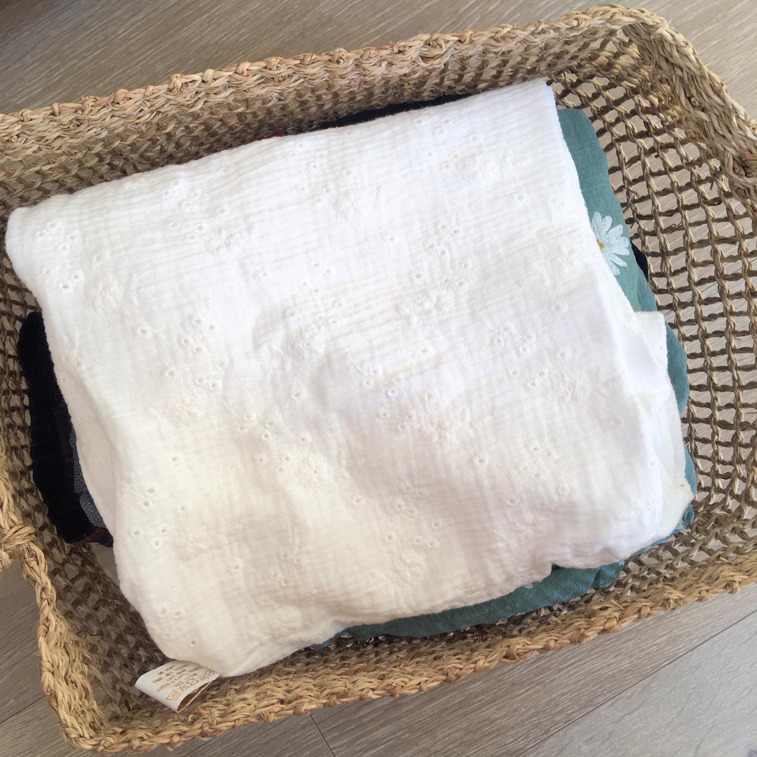 du vent dans mes valises - snood si doux écharpe tour de cou double gaze voile de coton blanc broderie anglaise fleurs brodées made in France
