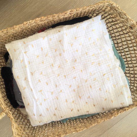 du vent dans mes valises - snood si doux écharpe tour de cou double gaze voile de coton blanc pissenlits dorés made in France
