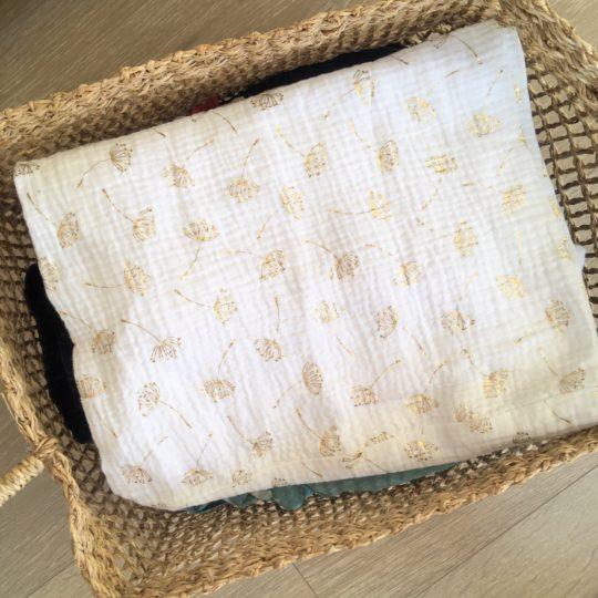 du vent dans mes valises - snood si doux écharpe tour de cou double gaze voile de coton blanc ombellifères dorées made in France