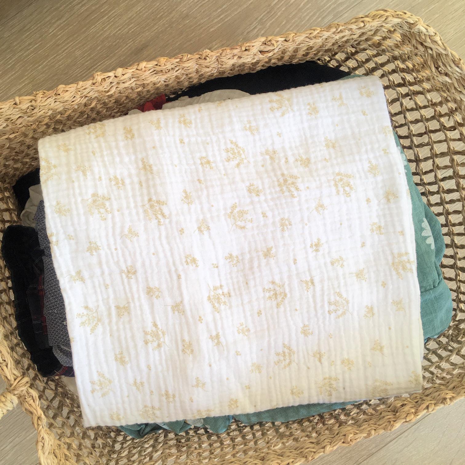 du vent dans mes valises - snood si doux écharpe tour de cou double gaze voile de coton blanc beige made in France