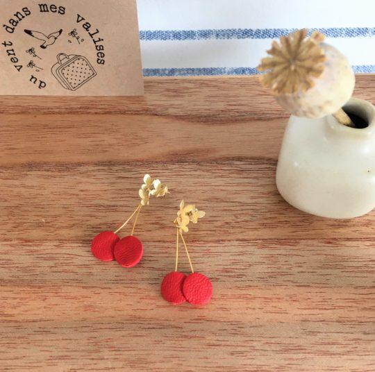 du vent dans mes valises - boucles d'oreilles cerises et papillons rouge dorées made in France