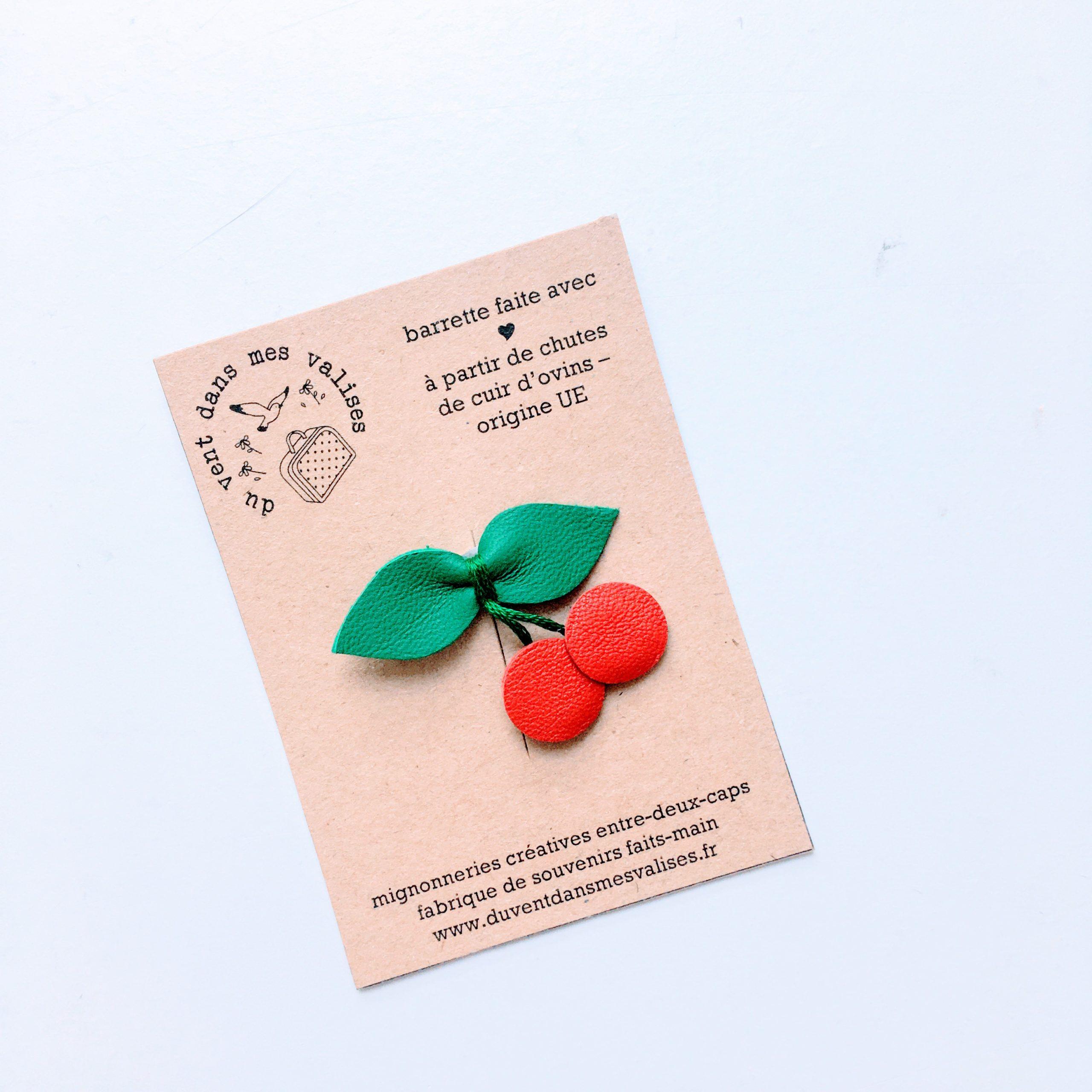 du vent dans mes valises - barrette cerises rouge vert cuir upcycled made in France