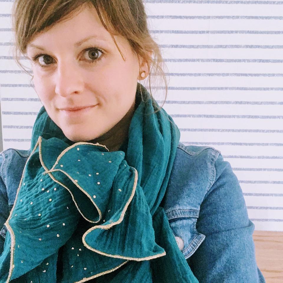 du vent dans mes valises - foulard étole écharpe en double gaze de coton finitions bordures dorées fil métallisé made in France