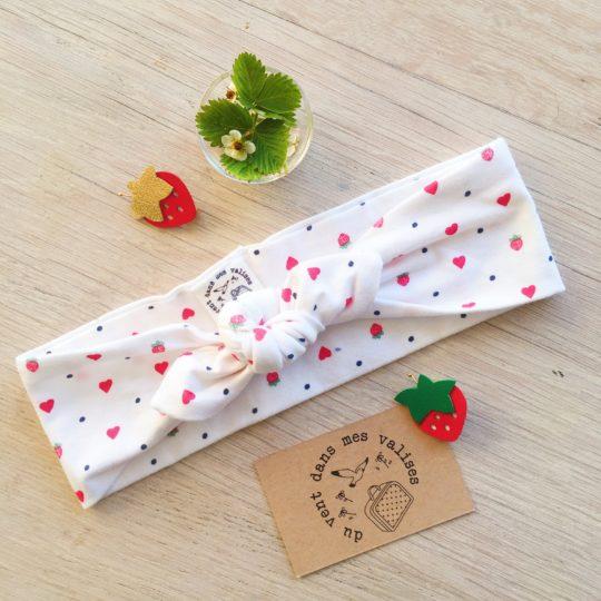 bandeau fille : femme fraises à croquer blanc - du vent dans mes valises